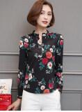 ขาย เสื้อเกาหลีเสื้อชีฟองหญิงแขนสั้นฤดูใบไม้ผลิและฤดูร้อน สีดำแขนยาว ถูก