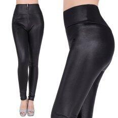 ทบทวน นิวแฟชั่นเซ็กซี่ของหญิงสาวเอวสูงกางเกงขายาวมีซิปกางเกงยืดร่างเพรียวสวมกางเกงสีดำ