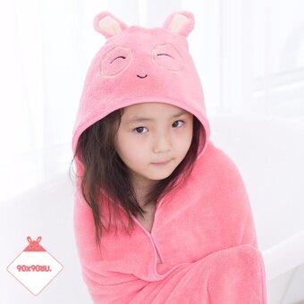 ผ้าห่มขนนุ่ม ผ้าห่อตัวทารก มีฮู้ต สำหรับเด็ก ผ้าเช็ดตัว ลายสัตว์ น่ารัก (ลายกระต่ายชมพู)