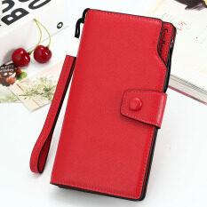 ซื้อ ญี่ปุ่นและเกาหลีใต้หญิงความจุขนาดใหญ่กลอนนางสาวกระเป๋าสตางค์กระเป๋าสตางค์ สีแดงหัวเข็มขัดกระเป๋าถือ Unbranded Generic