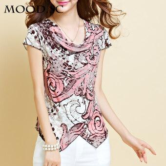 MOOD.SC เสื้อผู้หญิงผ้าชีฟองแขนสั้นพิมพ์ลาย (หอยทากสี) (หอยทากสี)