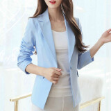 ขาย เวอร์ชั่นเกาหลีนางสาวไซส์พิเศษไซส์ใหญ่พิเศษแขนยาวสลิมเสื้อสูทขนาดเล็กชุดสูทเสื้อกันหนาว สีฟ้า ถูก ใน ฮ่องกง