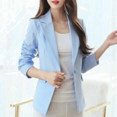 ราคา เวอร์ชั่นเกาหลีนางสาวไซส์พิเศษไซส์ใหญ่พิเศษแขนยาวสลิมเสื้อสูทขนาดเล็กชุดสูทเสื้อกันหนาว สีฟ้า ใน ฮ่องกง