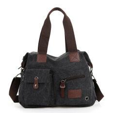 ทบทวน ที่สุด เกาหลีใหม่กระเป๋าเดินทางที่เดินทางมาพักผ่อนผ้าใบกระเป๋าถือ สีดำ