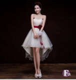 ส่วนลด ชุดราตรีสั้นของผู้หญิง เดรสผ้าตาข่าย สีแชมเปญ แชมเปญระยะสั้นในด้านหน้ายาว แชมเปญระยะสั้นในด้านหน้ายาว