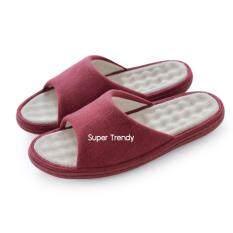 ขาย ซื้อ รองเท้าใส่ในบ้าน รุ่น มีปุ่มกดนวด พื้นถอดซักได้ สีแดง