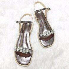 ราคา รองเท้าสไตล์มินิมอล ดีไซน์ประดับเพชรเม็ดใหญ่ พร้อมสายหลัง สีเทา ใหม่