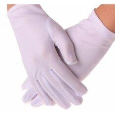 ส่วนลด ถุงมือผ้าออกงานสีขาว ถุงมือแบบสั้น ออกงาน การแสดง ผ้าซาติน ขาว