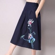 โปรโมชั่น ลมจีนลมแห่งชาติพิมพ์ยาวผ้าฝ้ายกระโปรงผู้หญิงกระโปรง น้ำเงิน ฮ่องกง