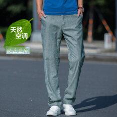 ขาย ผ้าลินินกางเกงฤดูร้อนส่วนบางกางเกงชายหลวม สีเทาสีเขียว ออนไลน์