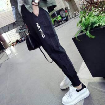 กางเกงฮาร์ลานหญิงสีดำ สกรีนอักษร สไตล์เกาหลี (KK8140 บวกกำมะหยี่สีดำ)