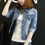 ขาย Huo Yu เสื้อคลุมแขนยาวคาวบอย สไตล์ผู้หญิงเกาหลี เข้ากับทุกรูปแบบได้ แสงสีฟ้าแขนยาว ออนไลน์