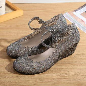 รองเท้ารัดส้นผู้หญิง ลายฉลุคริสตัล ยี่ห้อXZL