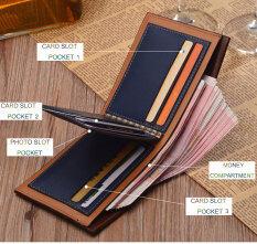 ซื้อ เปิดกระเป๋าสตางค์ลายรูปแบบแนวนอนชาย กาแฟแสง ออนไลน์ จีน