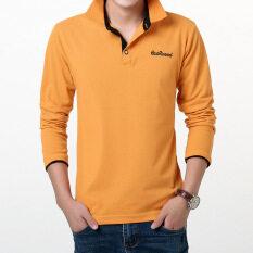 ราคา เกาหลีชายปกสลิมโปโลเสื้อฤดูใบไม้ร่วงแขนยาวเสื้อยืด สีส้มสีดำคอ Other ใหม่