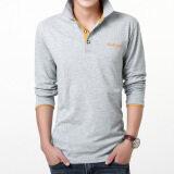 ซื้อ เกาหลีชายปกสลิมโปโลเสื้อฤดูใบไม้ร่วงแขนยาวเสื้อยืด สีเทาสีส้มปก ใน ฮ่องกง