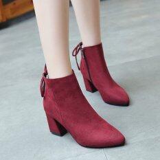 ราคา Byl รองเท้าสีทึบมาร์ตินรองเท้าหลอดสั้นกันน้ำหลังจากลูกไม้ สีแดง ฮ่องกง