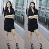 ราคา ชนชอป เดรสทรงสูท สไตล์เกาหลี ผ้าฮานาโกะ สีดำ เป็นต้นฉบับ Top