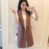 ขาย เกาหลีรุ่นหญิงยาวรุ่นฤดูใบไม้ผลิเสื้อกันหนาวชุดสูทเสื้อกั๊กเสื้อกั๊ก สีม่วง ใน ฮ่องกง