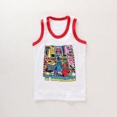 ซื้อ ตัดมาตรฐานเสื้อกั๊กการ์ตูนผ้าฝ้ายเด็กชายส่วนบาง ขอบสีแดงสีขาวการ์ตูน Other