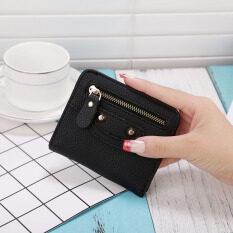 Ban Shu กระเป๋าสตางค์สตรีใบสั้นแบบพับได้ คลาสสิกสีดำ ใหม่ล่าสุด