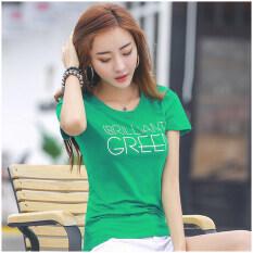 เกาหลีผ้าฝ้ายหญิงใหม่เสื้อเสื้อยืด สีเขียว ฮ่องกง