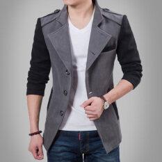 ซื้อ เสื้อกันลมทำด้วยผ้าขนสัตว์เสื้อกันหนาวปลูกฝังปกสูท สีเทาสีดำแขน ออนไลน์ ถูก