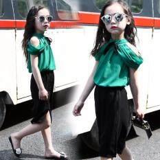 ซื้อ ชุดเด็กผู้หญิง เสื้อเปิดหัวไหล่พร้อมกางเกงขาสี่ส่วนสีดำ Import ถูก