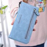 ซื้อ Ykss กระเป๋าสตางค์ใบยาว มีซิป สำหรับสตรี สไตล์เกาหลี แบบย้อนยุค ท้องฟ้าสีฟ้า ใหม่