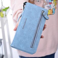 ราคา Ykss กระเป๋าสตางค์ใบยาว มีซิป สำหรับสตรี สไตล์เกาหลี แบบย้อนยุค ท้องฟ้าสีฟ้า ที่สุด