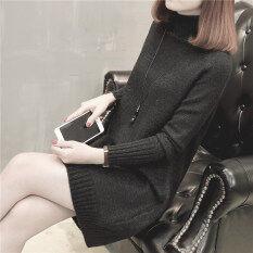 เสื้อสเวตเตอร์ถักนิตติ้ง คอสูงMuucotti สีเทาและสีดำ สีเทาและสีดำ ใหม่ล่าสุด