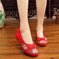 โปรโมชั่น สง่างามลมชาติเอ็นหนาด้านล่างรองเท้ารองเท้าเต้นรำสแควร์ สีแดง Unbranded Generic ใหม่ล่าสุด