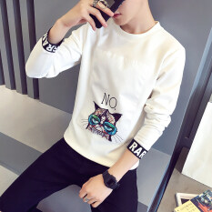 ซื้อ เวอร์ชั่นเกาหลีบวกกำมะหยี่ชายวัยรุ่นสบายๆเสื้อยืดเสื้อกันหนาว สีขาว ไม่กำมะหยี่ ฮ่องกง
