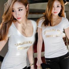 ราคา เกาหลีหญิงผอมแน่นเสื้อผู้หญิงแขนสั้นเสื้อยืด สีดำ Unbranded Generic ฮ่องกง