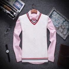 ราคา เยาวชนสลิมเสื้อสวมหัวเสื้อกันหนาวเสื้อกั๊กฤดูใบไม้ผลิและฤดูใบไม้ร่วงเสื้อกันหนาว สีขาว เป็นต้นฉบับ