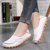 ส่วนลด รองเท้าหนังแท้ พื้นราบ อ่อนนุ่ม มีปุ่มกันลื่น ผู้หญิง สีขาว สีขาว