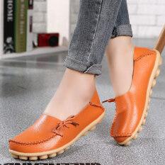 รองเท้าหนังแท้ พื้นราบ อ่อนนุ่ม มีปุ่มกันลื่น ผู้หญิง สีส้ม สีส้ม Unbranded Generic ถูก ใน ฮ่องกง