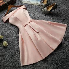ซื้อ ขนาดเล็กชุดแต่งงานซาตินชุดเพื่อนเจ้าสาวผอมบาง สีชมพู Unbranded Generic