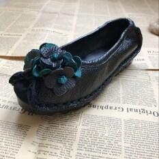 ย้อนยุคที่ทำด้วยมือเดิมรองเท้า ใบสีเขียวสีดำ ใบสีเขียวสีดำ เป็นต้นฉบับ