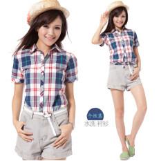 ราคา เกาหลีผ้าฝ้ายหญิงแขนสั้นฤดูร้อนเสื้อลายสก๊อตเสื้อ บุคลิกภาพสีฟ้า เป็นต้นฉบับ