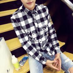 สไตล์ฮ่องกงคอลเลคชั่นฤดูใบไม่ผลิผลิตภัณฑ์ใหม่สไตล์ญี่ปุ่นเฟรชชี่ลายเส้นแนวตั้งเสื้อเชิ้ตสไตล์เกาหลีผู้ชายปกตั้งเสื้อเชิ้ตแขนยาวเสื้อผู้ชาย By Taobao Collection.
