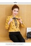 โปรโมชั่น เสื้อเชิ๊ตหญิง แขนยาว ผ้าชีฟอง สไตล์เกาหลี สีเหลือง สีเหลือง