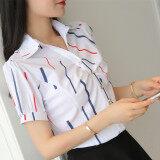 ขาย สีขาวคอวีผอมหญิงเสื้อชีฟองเสื้อ แถบสี พัฟ Unbranded Generic ใน ฮ่องกง