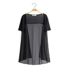ขาย หญิงส่วนยาวผ้าคลุมไหล่ฤดูใบไม้ผลิเวตเตอร์ถักเสื้อชีฟอง สีดำ Unbranded Generic