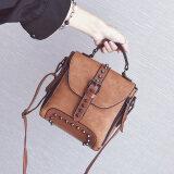ซื้อ เกาหลีหญิงนางสาวกระเป๋าเป้สะพายหลังกระเป๋าสะพายขนาดเล็ก เข็มขัดรุ่นสีน้ำตาลอ่อน