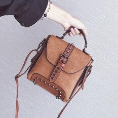 ขาย เกาหลีหญิงนางสาวกระเป๋าเป้สะพายหลังกระเป๋าสะพายขนาดเล็ก เข็มขัดรุ่นสีน้ำตาลอ่อน ถูก