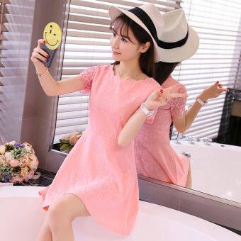 ชุดเดรสสีทึบ แขนสั้น คอวี สไตล์สาวเกาหลี