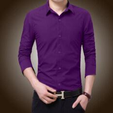 ขาย เกาหลีแขนยาวผอมวัยรุ่นสีดำเสื้อผู้ชายเสื้อ สีม่วง Unbranded Generic