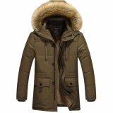 ราคา เสื้อโค้ทผู้ชาย หนามาก แต่งฮู้ดเฟอร์ กระเป๋าใหญ่ สีน้ำตาลเขียวเข้ม H Jacket เป็นต้นฉบับ