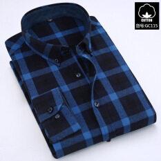 ส่วนลด สินค้า เสื้อลำลองผ้าฝ้ายเสื้อชายแขนยาว ตารางสีน้ำเงินเข้ม